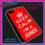 FITS IPHONE 4 / 4S PHONE KEEP CALM IM A JOINER PLASTIC COVER RED